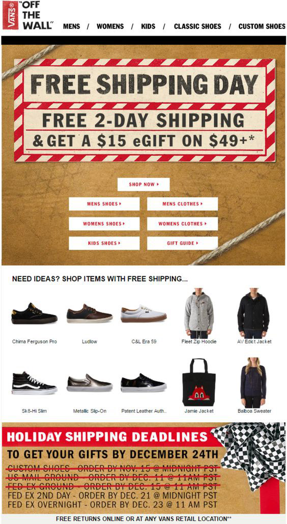 Holiday email templates_Vans