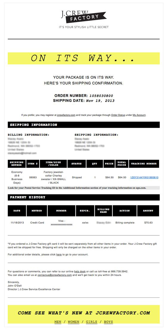 transactional email template