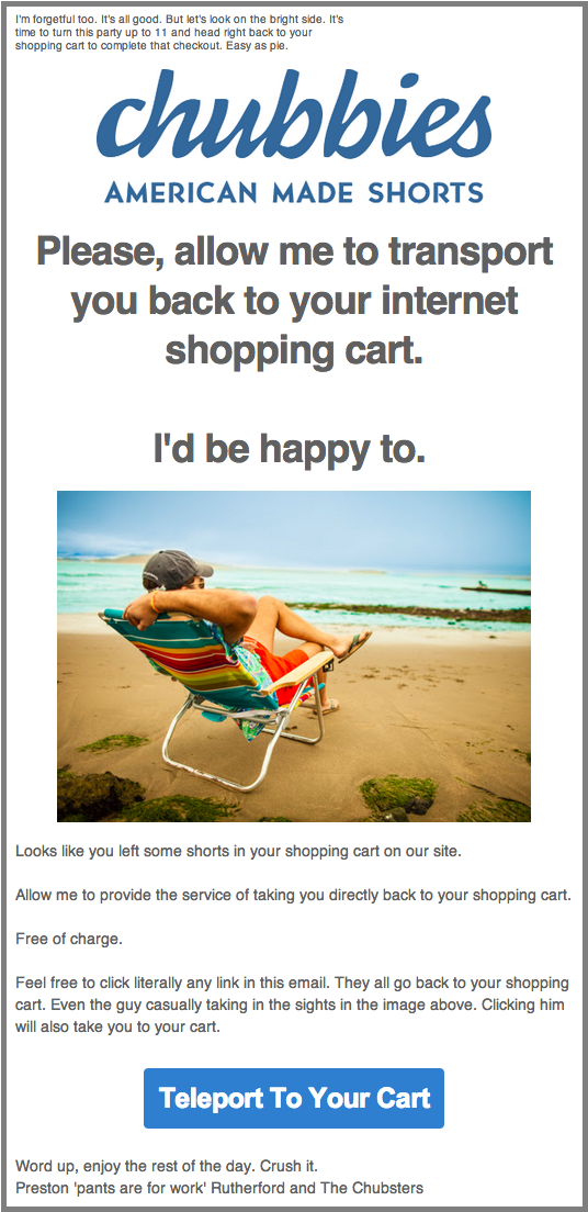 chubbies cart abandonment email