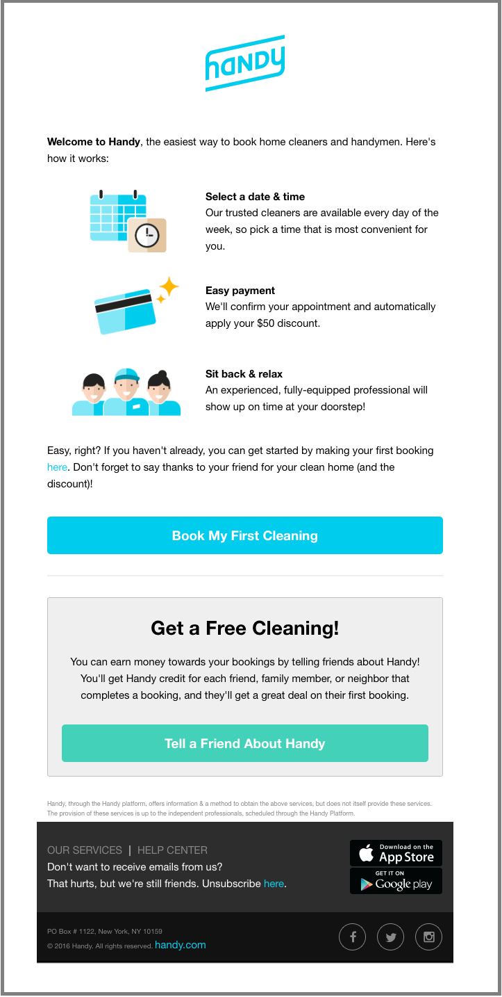 email for referral program - Handy