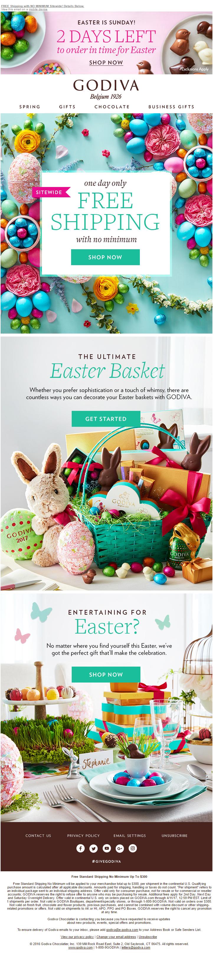 GODIVA Easter Email