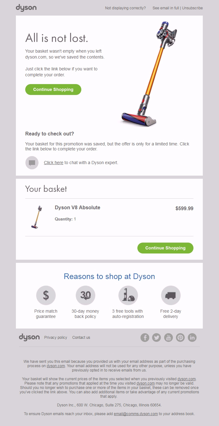 Dyson cart abandonment email