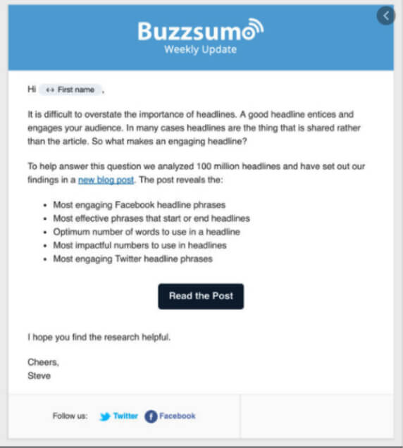 Buzzsumo weekly update