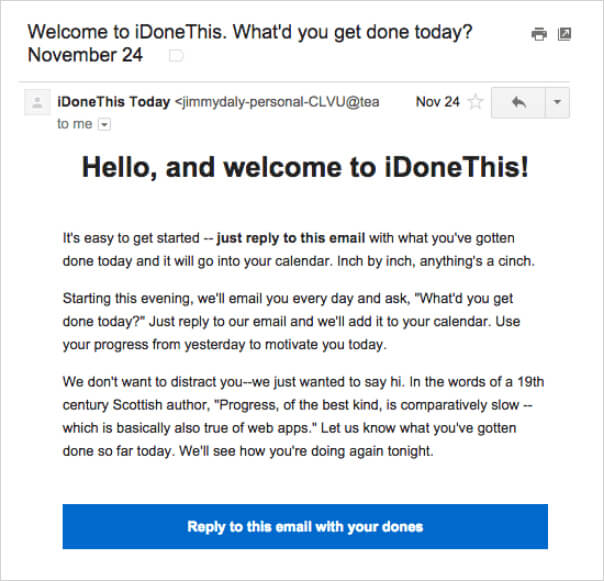 Welcome done email